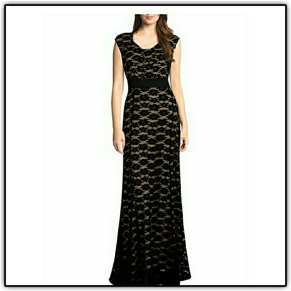 Muisol Dresses & Skirts - NWT'S Black/Nude Lace Cap Sleeve Maxi Dress